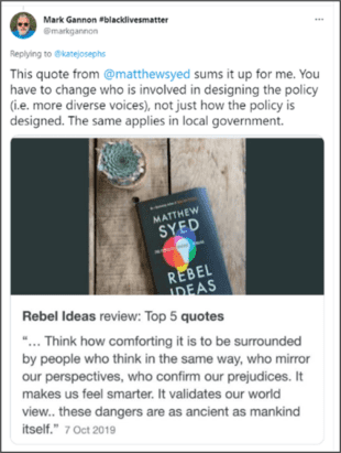 A message published on twitter