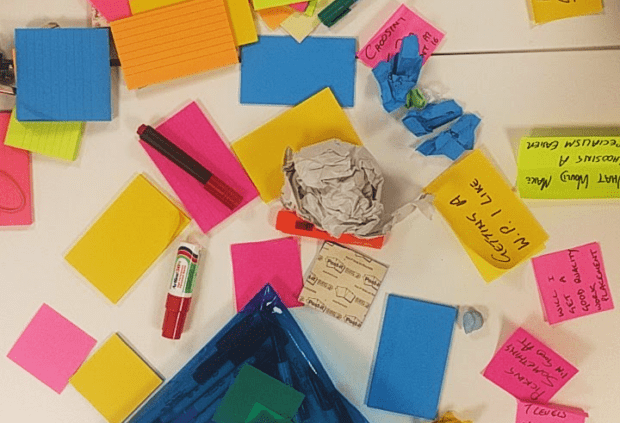 Some stationary on a table after a workshop